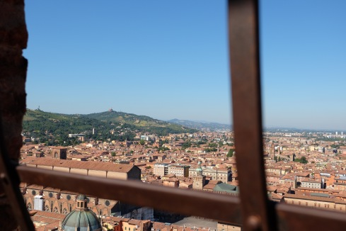 The view from the top of the Asinelli, with San Luca in the background